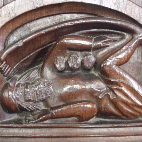 This strange carving is of a creature called a sciapod who was thought to live in the desert and used his foot to shade him from the sun! Find him at Dennington.