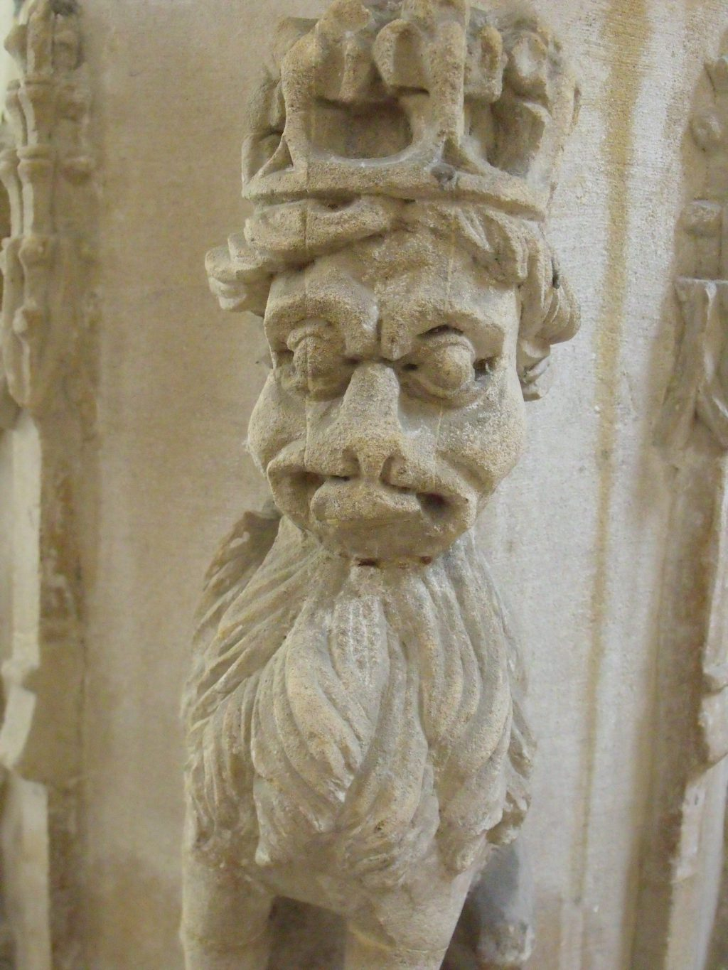 Here's a woodwose or wild man of the woods but quite friendly really. Find him on the font at Nettlestead church