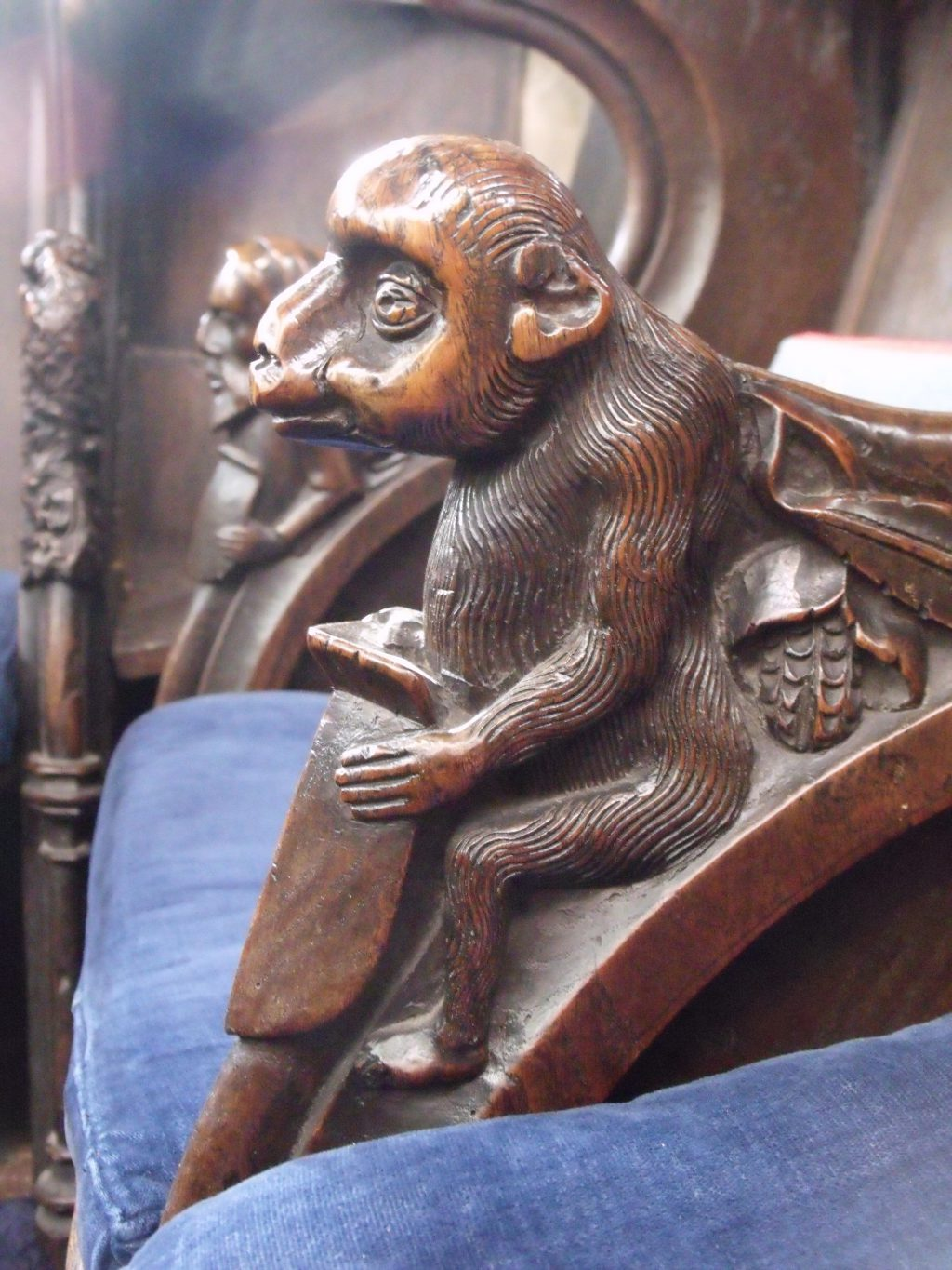 What strange creatures have been carved on the choir seats at Southwold! This one looks like a monkey.