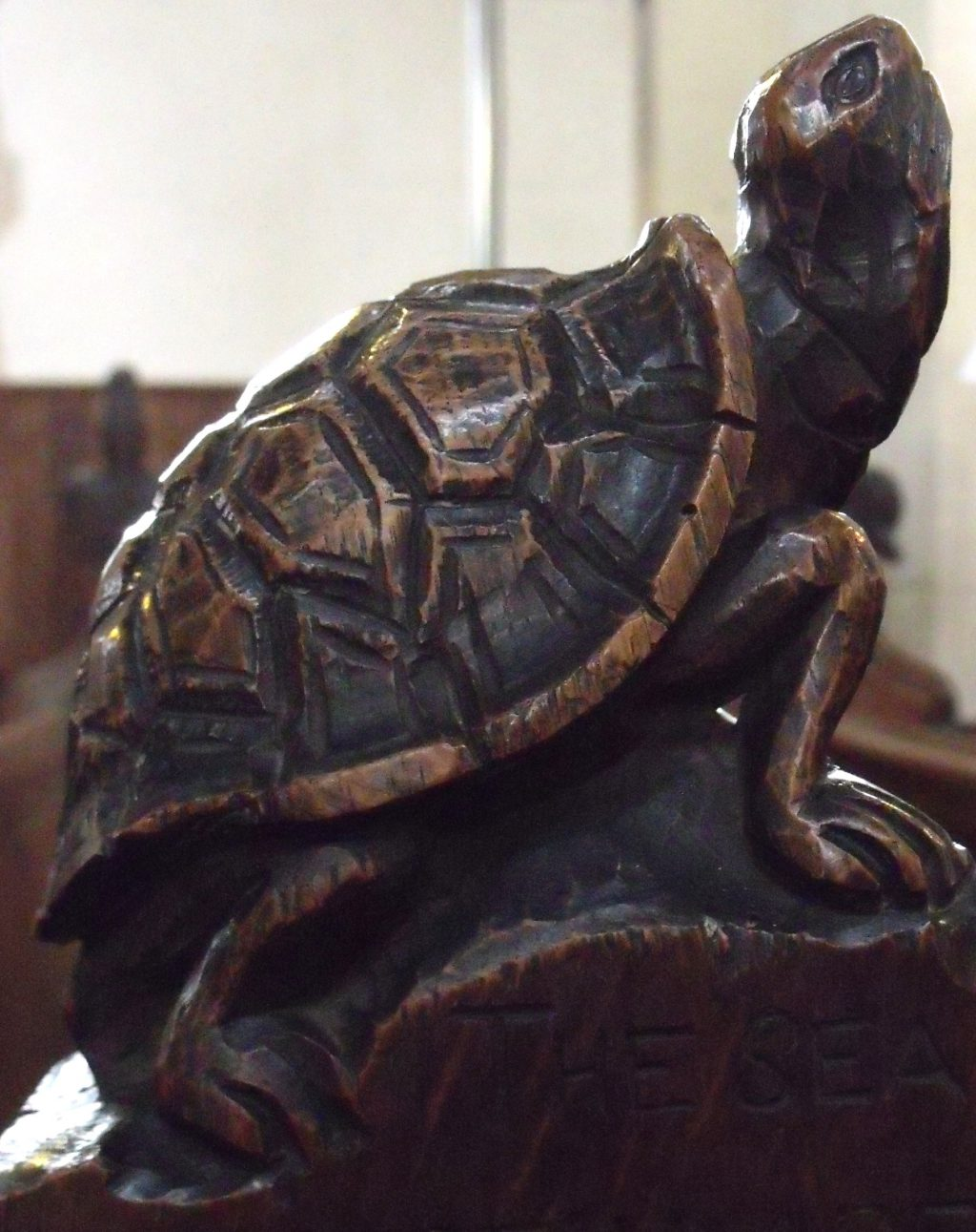 Here's an easy one. Wonder if the carpenter kept a tortoise as a pet as some people do today? This one is at Wortham.