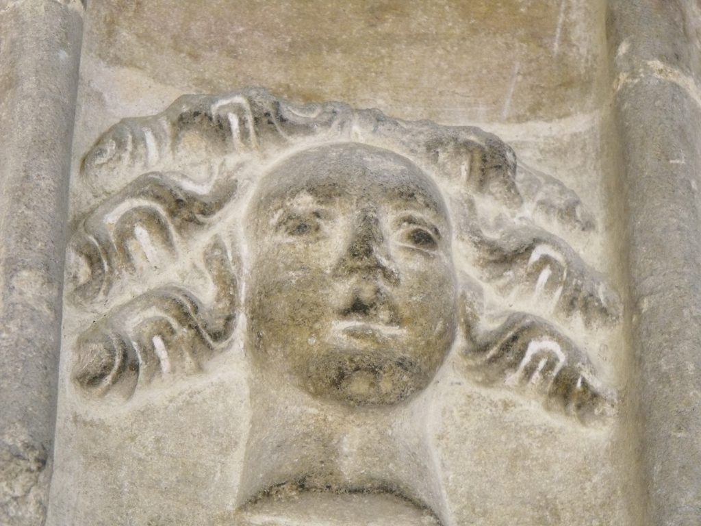In ancient times, stone masons spent hours carving faces like this girl at Woolpit